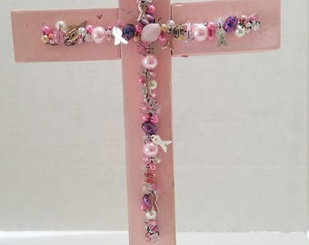 Breast Cancer Awareness Beaded Decorative Wooden Cross Pink