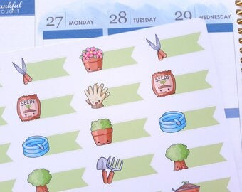 Gardening stickers, planner stickers, garden work, kawaii stickers, cute garden stickers, flag stickers for Erin Condren & Happy Planner