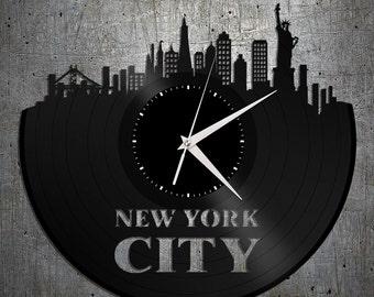 New York City Clock New York Cityscape Clock New York Skyline Wall Art New York Gift Ideas Record Clock Vinyl Clocks New York Wedding Gift