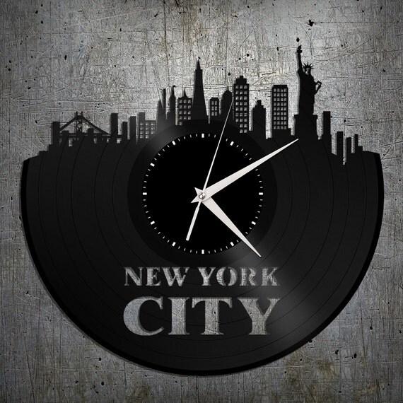 New York Clock Nyc Skyline Clock Vinyl Record Art