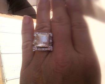Meteorite  ring with danburite crystals