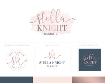 Photography Logo Design Branding Kit with Watercolor Logo and Logo Watermark - Rose Gold Branding Package Logo Design Blog Header