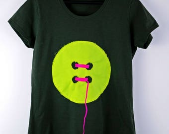 Lime button tee women's tshirt - lime canvas with pink elastic ribbon on charcoal cotton - gift for her - by Monikatees