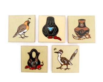 Set of Five - Cleo Teissedre Southwestern Pottery Coasters - Trivets or Wall Hangings