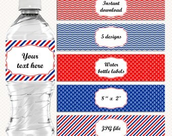 Nautical theme Water Bottle labels. Red and blue. Nautical Party Birthday Baby Shower. Water bottle stickers. Drink Labels. Instant download