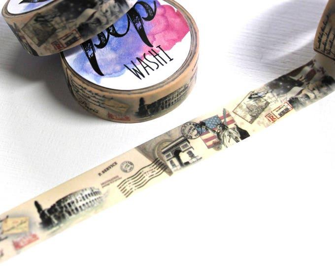 Patriotic Washi Tape - Washi Tape - National monument Washi Tape - Paper Tape - Planner Washi Tape - Decorative Tape - Deco Paper Tap - Flag