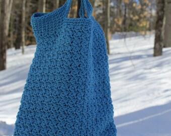 Small Crochet Bag, Crochet Book Bag,  Small Blue Bag, Eco-friendly bag, Crochet Market Bag