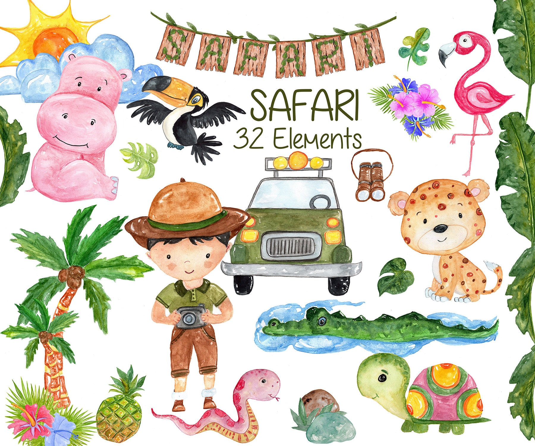 Watercolor Safari animals clipart: AFRICAN ANIMALS