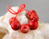 Candy apple red  porcelain bead set-Ronnie's beads