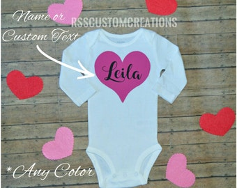 Baby Girl Valentine's Outfit, Preemie Valentine's Day Outfit, Toddler Girl Valentine's Shirt, Choose Your Colors, 1st Valentine's Shirt