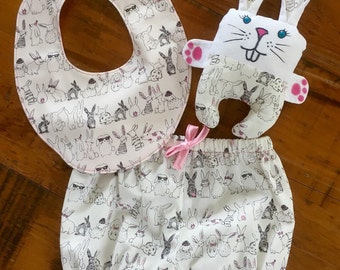 Baby Girl Gift Set, Baby Gift, Nappy Cover Gift Set, Traditional Bib, Diaper Cover, Baby Shower Gift, Soft Toy Bunny, Ready to ship