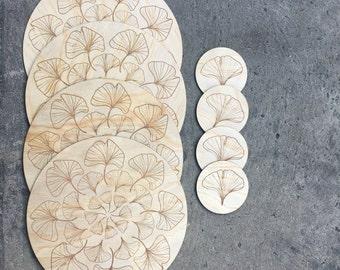 Gingko Mandala Placemat and Coaster Set (set of 4)