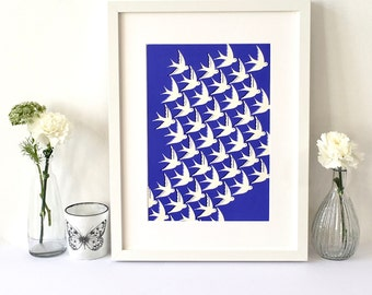 Art Print / Wall art / Birds in flight in cream and royal blues illustration / A4 and A3 sizes / Moving home gift / Free uk shipping