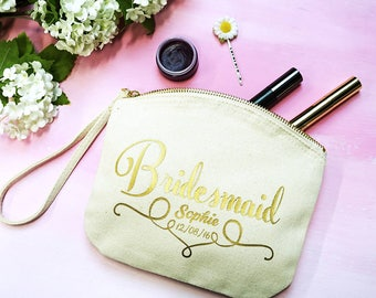 Bridesmaid Clutch - Personalised Bridesmaid Clutch Bag - Bridesmaid Wristlet - Bridesmaid Gift - Bridal Party Bag - Bridal Party Clutch Bag
