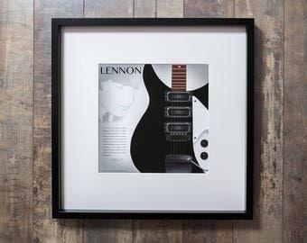 Lennon's Guitar - Beautiful framed Beatles print