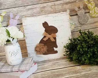 Easter Sign, Rustic Bunny Sign, Farmhouse Style Easter Decor