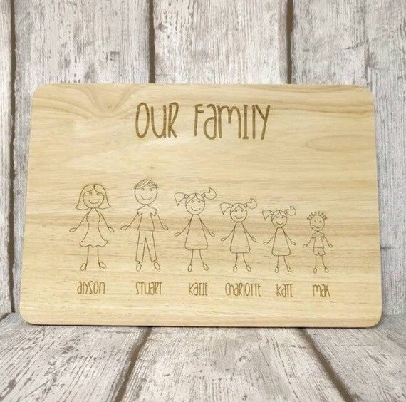 Our family - chopping board - decorative plaque for kitchen - personalised and bespoke