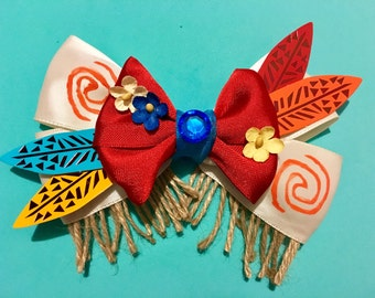 Moana Bow FREE SHIPPING Moana Hair Bow Princess Bow Disney Princess Bow Disneybounding Disney Bow Disney Bows Maui Bow Disney Hair Bow