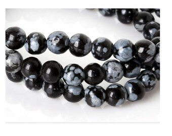 lot of 25 natural stone beads 8 mm speckled black obsidiennes