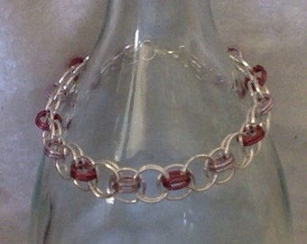 Bracelet, Chainmaille bracelet, Pink and Red Helm chainmaille Bracelet - 7 3/4 inches