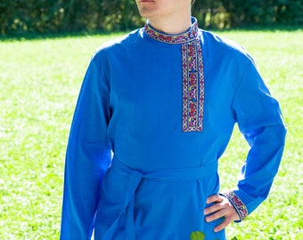 Tradition russian shirt Kosovorotka, Russian shirt for men, Slavic shirt, Russian costume, Cotton shirt, Cossack shirt