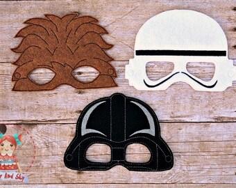Star Wars Inspired Masks Storm Trooper Dark Vader Chewbacca Birthday Party Idea