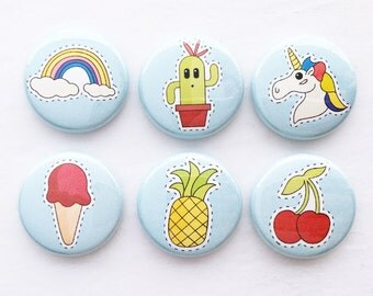 Set of Six Flair Buttons {80's Icons}