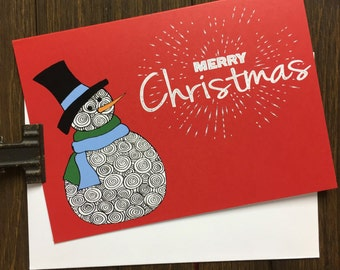 Holiday Greeting Card. Snowman Card. Watercolor Greeting Card. Merry Christmas. Card Set. Blank Cards. Snowman Stationery. Holiday Art