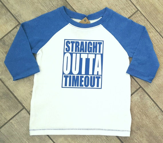 Straight Outta Timeout - toddler baseball raglan shirt - ONE OF A Kind - child/baby accessories - size 2T