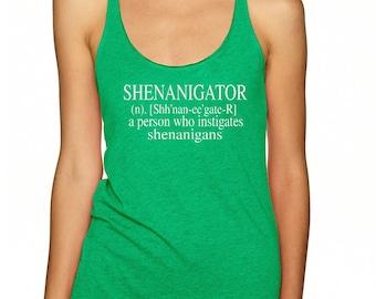 LADIES RACERBACK, Shenanigator tank, Shenanigans,  St. Patricks day shirt, St. patricks, shenanigans shirt, St Patrick's Day Funny Shirt
