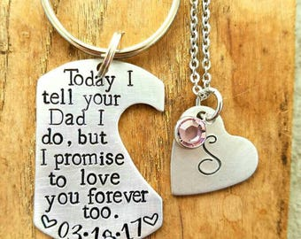 Personalized hand stamped dad keychain.  Step mom wedding gift. Father wedding gift. Step daughter gift. Customized step child gift.