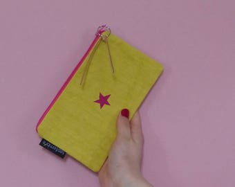 Yellow bag fabric pouch with star pattern, yellow beach bag, summer Kit, travel case