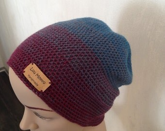 Longbeanie, slouch, Cap also for spring and autumn, pendant CAP, crochet Merino Wool, unique,