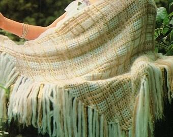 Crochet Shawl With Fringe, Crochet Pattern. PDF Instant Download.