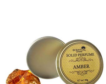 Amber Solid Perfume, Organic Amber Perfume Bar, Vegan Perfume, Natural Perfume, Gift Idea