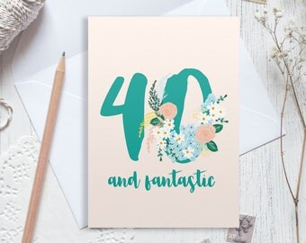 Personalised 40th birthday card, 40 birthday card, happy 40th birthday, personalised birthday card