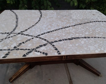 Black and White Polished Stone Mosaic on Distressed Antique Mid-Century Modern Dining Table,Seats 6,stone table,granite table,marble table