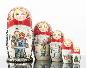 "Russian Nesting Doll - ""Russian Village. Winter."" - MEDIUM SIZE - 5 dolls in 1 - Hand Painted in Russia - Matryoshka Babushka"