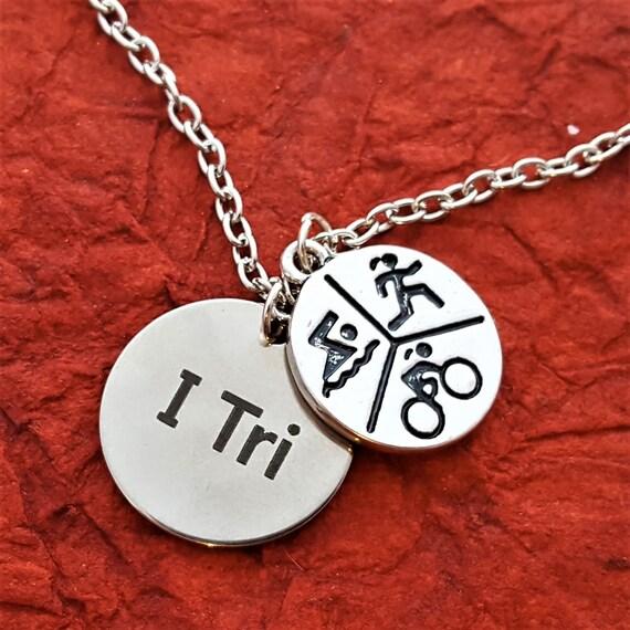 Triathlete Gifts, Triathlon Jewelry, CrossFit Sports Necklace, I Tri Charm, Swim Bike Run, Inspirational Gifts, Motivational Fitness Quotes