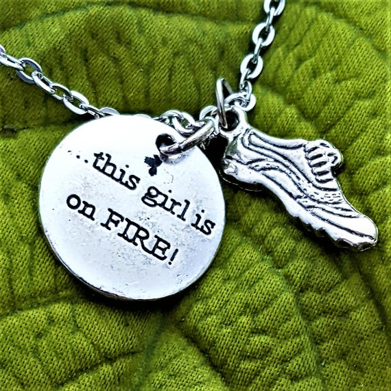 Fitness Gifts, Runner Charm Necklace, CrossFit Jewelry, Gifts for Runners Swimmers Bikers, This Girl is on Fire, Triathlete Jewelry Gifts