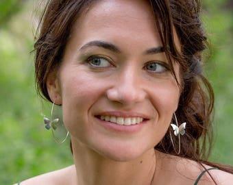 Wedding earrings, sterling silver butterfly earrings, romantic earrings for woman, boho earrings, butterfly hoop earrings.
