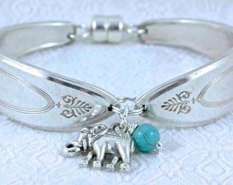 Spoon Bracelet. Silverware Jewelry. Elephant Charm. Vintage Bracelet.