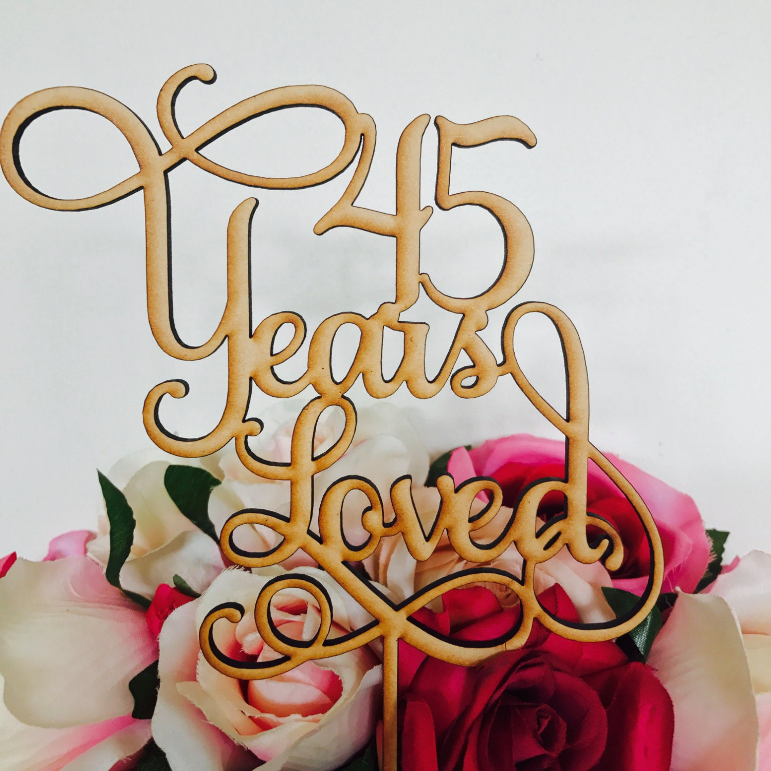 45 Years Loved Cake Topper Anniversary Decoration Decorating Wedding 45th