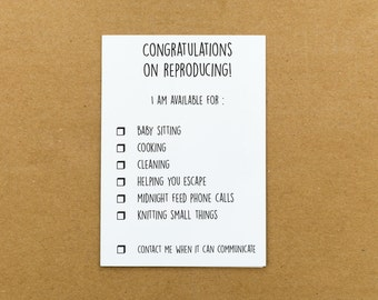 Congratulations on Reproducing! Baby card