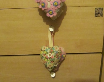 CLEARANCE 50% OFF Love Hearts, Handmade Decorations Set  of 4