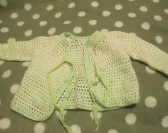 Cardigan Handmade Vintage Knitted Baby Clothes Green Ribbon Tie Up