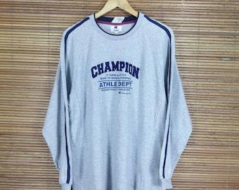 CHAMPION Sweaters Unisex Large Gray Vintage 1990's Sportswear Champion Athle Dept Usa Crewneck Pullover Jumper Sweatshirt Size L