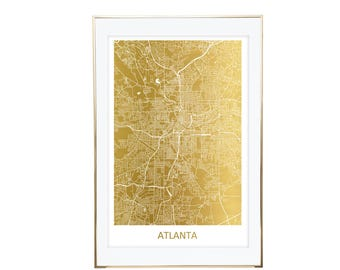 Atlanta Map Gold Foil Print- Real Gold Foil, Gold Foil Printing, Foil Print, Gold Foil Maps, Foil Maps. Gold Foil Map Of the World