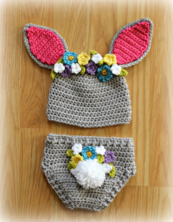 Crocheted Easter Bunny Hat Bunny Ears Girl Bunny Hat Easter