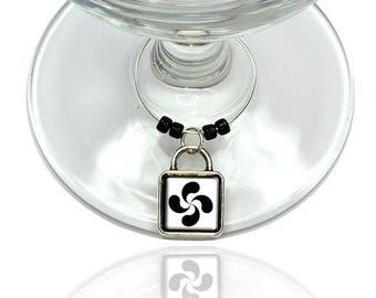 Basque Cross Lauburu Wine Glass Drink Marker Charm Ring